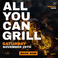 all you can grill night restaurant advertisem Pos Instagram template