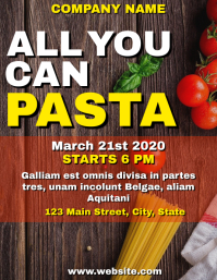 All you can pasta flyer advertisement