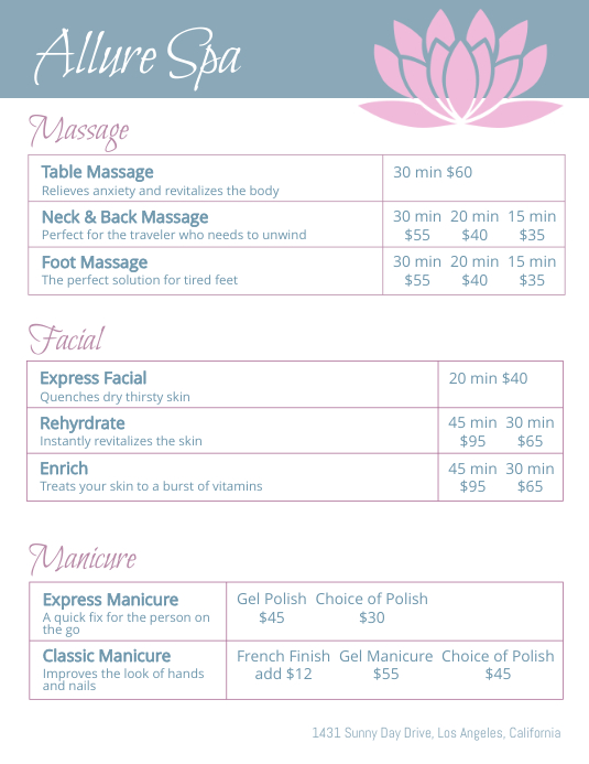 allure spa price list flyer template postermywall