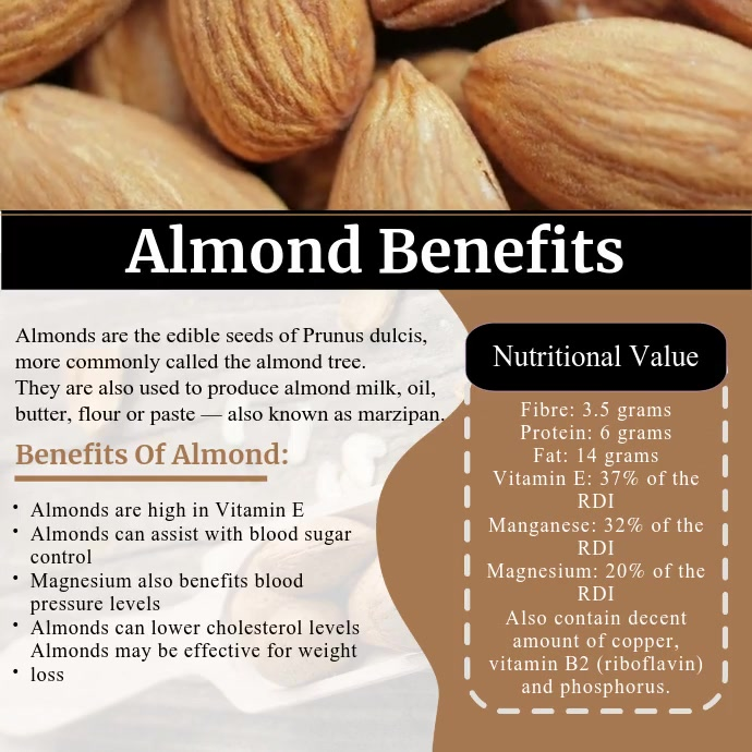 Almond Health Benefits Video Instagram Post template