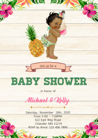 Aloha baby shower party invitation