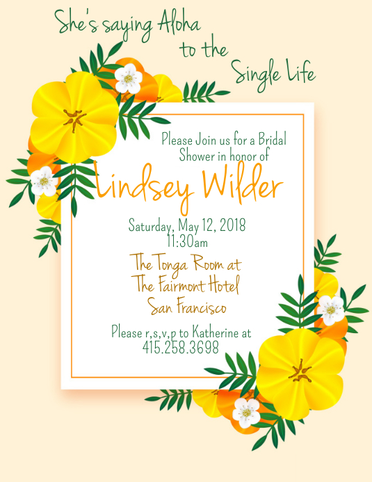 Aloha Bridal Shower Template | PosterMyWall
