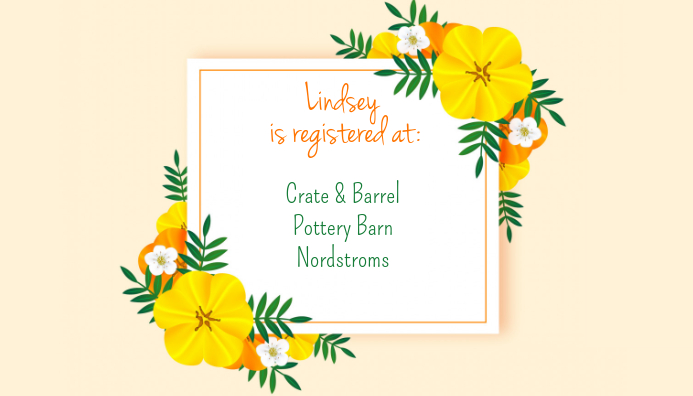 Aloha Bridal Shower Register Card Visitekaartje template