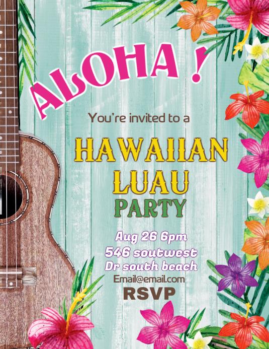 Aloha Hawaiian Luau Flyer Template