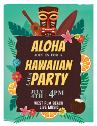 Aloha Hawaiian Party Template Flyer (US Letter)