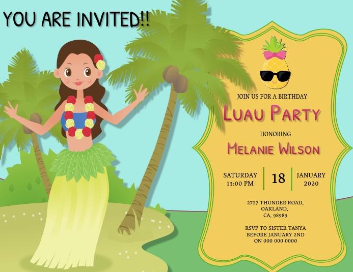 Aloha Luau Birthday invitation Template
