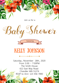 Aloha summer baby shower invitation
