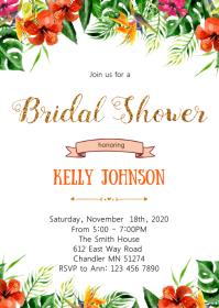 Aloha summer bridal shower invitation