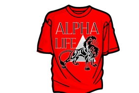 Alpha Life Lion Tshirt Design Cartaz template