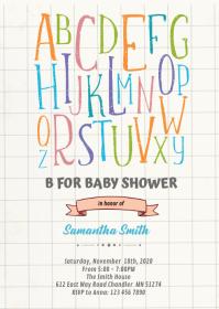 Alphabet baby shower Invitation A6 template