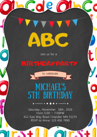 Alphabet birthday party invitation A6 template