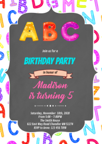Alphabet girl birthday invitation