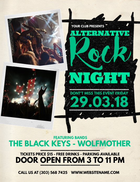 Alternative Rock Night Flyer Løbeseddel (US Letter) template