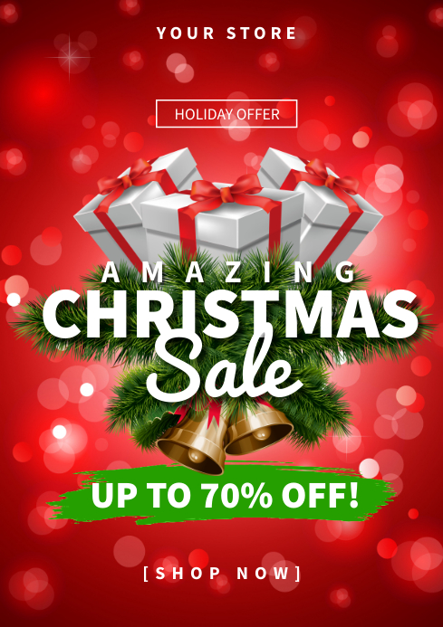 Amazing Christmas Sale Flyer Ad Template A4