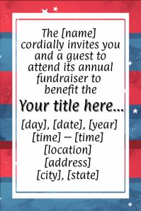 American 4th July Fundraiser Invitation Dinner Dance Veteran