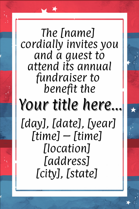 American 4th July Fundraiser Invitation Dinner Dance Veteran Poster template