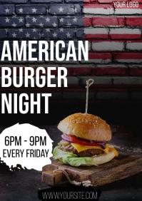 American Burger Night flyer A4 template