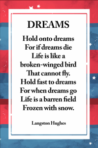 American Dreams Poem Inspirational Poster Wall Art 4th July