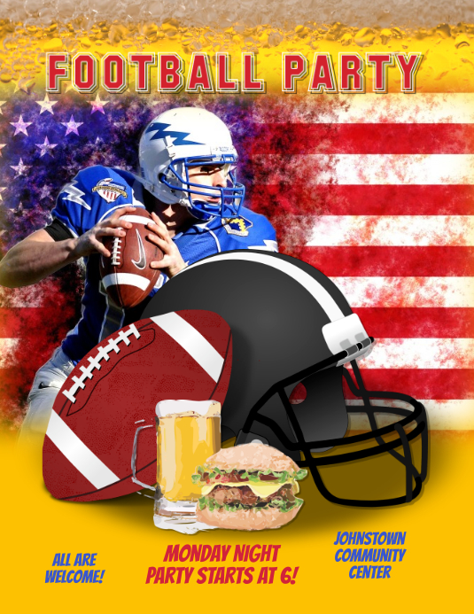 American Football Party Night Flyer Template