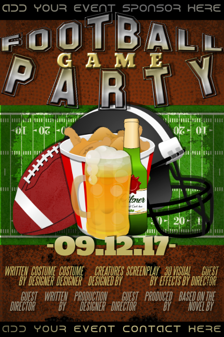 American Football Pre Game Sports Event Party Nfl Tailgate Template