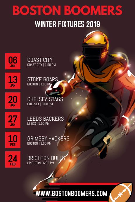 American Football Team Schedule Poster