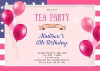 American girl birthday theme invitation A6 template