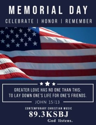 American Memorial Day Video Template Volante (Carta US)