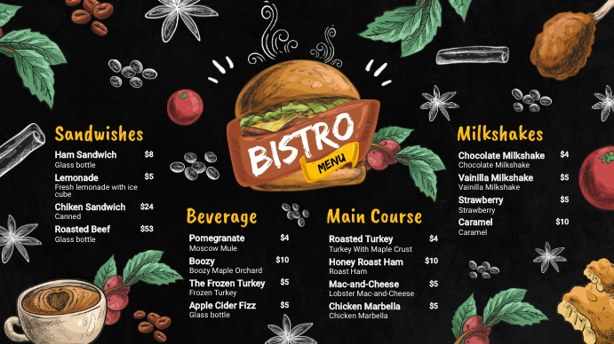 American Restaurant Bistro Menu Design Digital Display (16:9) template