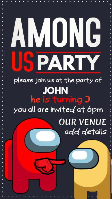 Among us Birthday Party Tampilan Digital (9:16) template