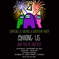AMONG US Birthday Party Invitation Template Pos Instagram