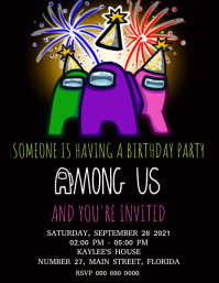 AMONG US Birthday Party Invitation Template Pamflet (VSA Brief)