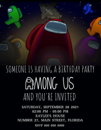 AMONG US Birthday Party Invitation Template Ulotka (US Letter)