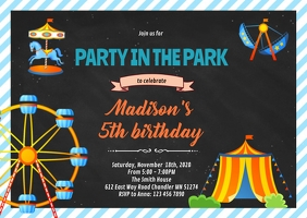 Amusement park party invitation A6 template