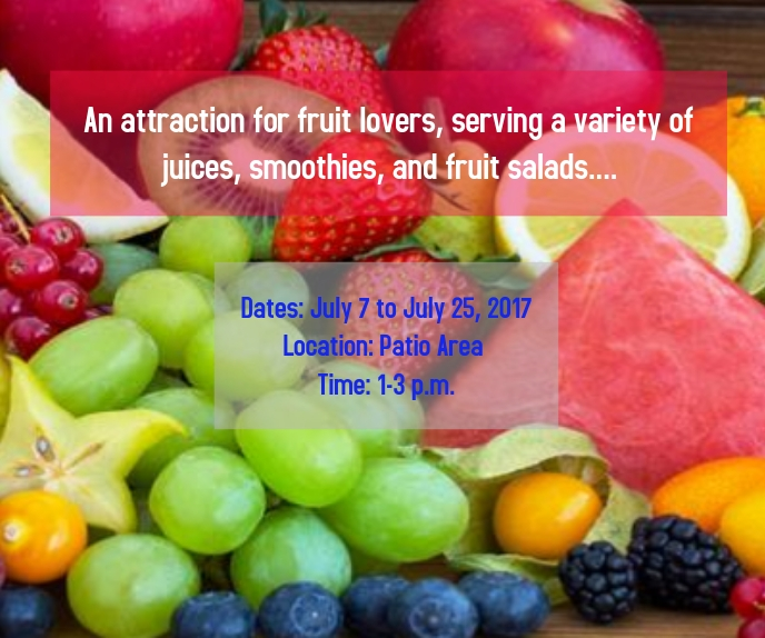 an attraction for fruit lovers, serving a var