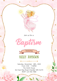 Angel baptism party invitation A6 template