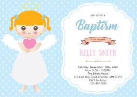 Angel baptism party invitation