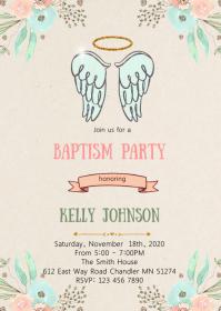 Angel baptism party invitation