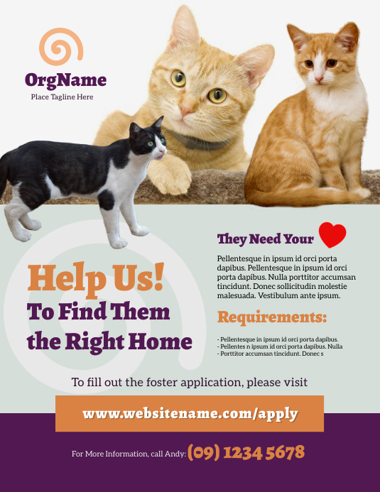 Animal Foster Flyer template