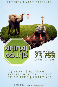 Animal Futuristic Techno Music Party Flyer Template Poster
