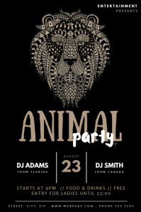 Animal Party Flyer Template