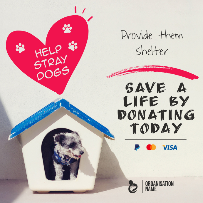 Animal Shelter Support Fundraising Instagram Post Template