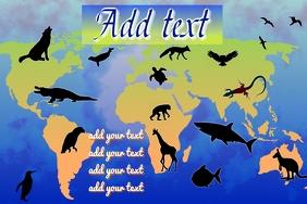 Animals earth, on world map