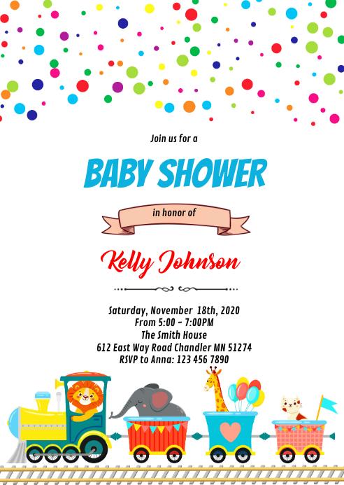 Animals train baby shower invitation A6 template
