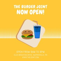 Animated Burger Join Reopening Instagram Vide template