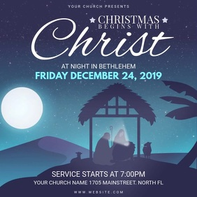 Animated Christmas Church Service Invitation Square (1:1) template