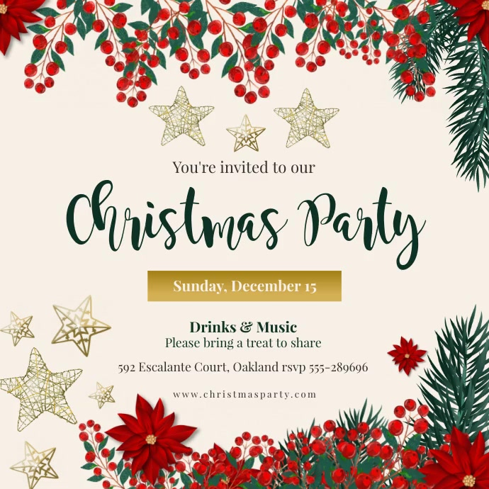Animated Christmas Party Invitation Publicação no Instagram template