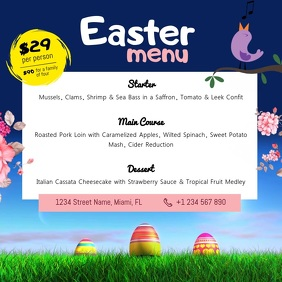 Animated Easter Menu Square Video