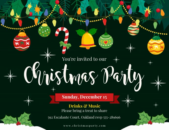 Animated Green Christmas Party Invitation Fly Flyer (Letter pang-US) template