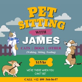 Animated Pet Sitter Services Ad Square Video