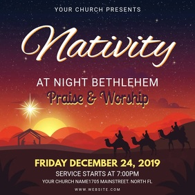 Animated Prayer and Worship Christmas Service Invitation